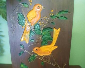Vintage Belle Art chalkware bird plaque