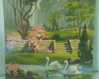 Vintage Paint by Number Swans 16x20 inch