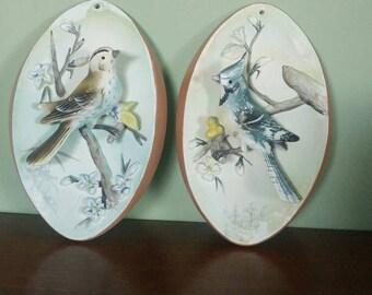 Vintage chalkware/59  bird plaques set of 2 Japan
