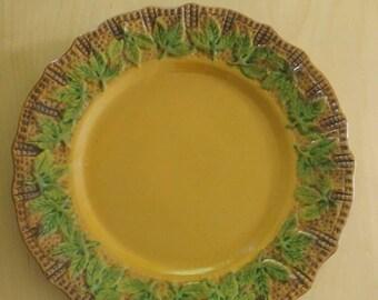 Vintage gold plate/green leaf with hanger-Union Glue & Gelatin Co.