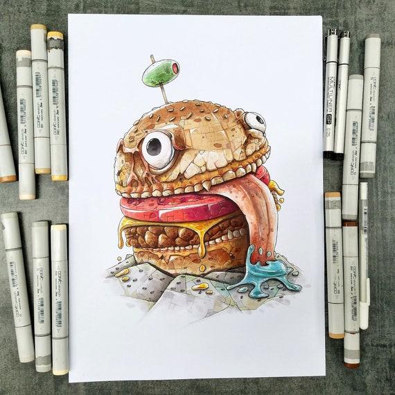 Fortnite Durr Burger A Copic Markers Original Illustration Etsy