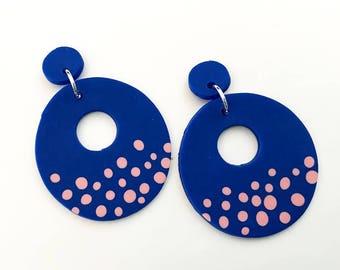 Blue Donut Polymer Clay Earrings