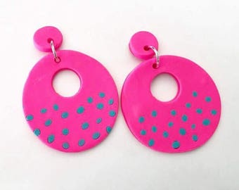 Hot Pink Donut Polymer Clay Earrings