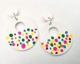 Rainbow Donut Polymer Clay Earrings