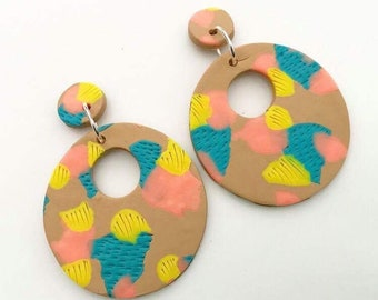 Coral, Turquoise and Tan Donut Polymer Clay Earrings