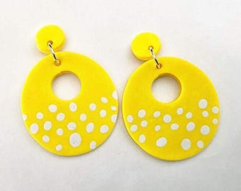 Yellow Donut Polymer Clay Earrings