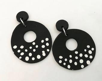 Black Donut Polymer Clay Earrings