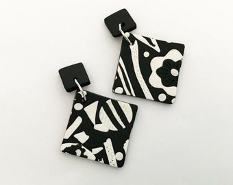 Monochrome Diamond Statement Polymer Clay Earrings