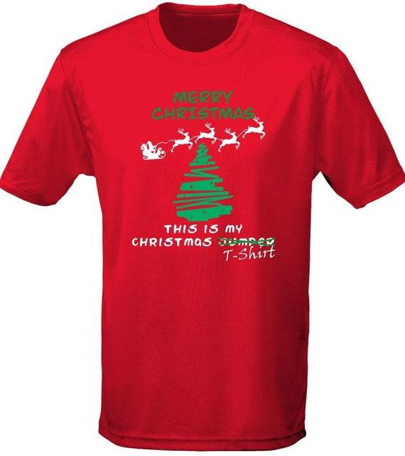 Christmas Jumper T-shirt Xmas Fancy Dress Kids Unisex T-Shirt 8 Colours XS-XL