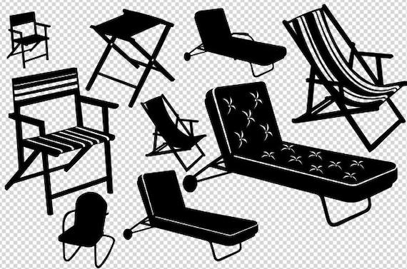 chair svg, lounge chair svg, beach chair cut file, beach chair silhouette,  folding camp stool, folding chair png, chaise lounge,vector chair