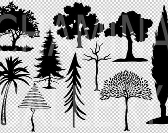 trees svg, trees silhouette, tree cut files, tree PNG, stylized tree, tree clipart, tree vector, tree bundle, tree printable, commercial use