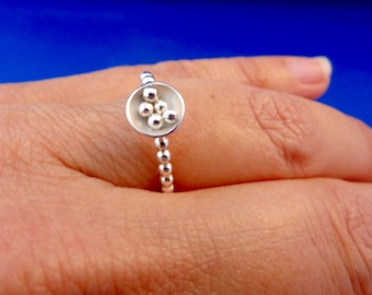 Sterling Silver Ring with Silver Balls