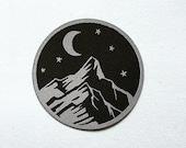 Night Sky Mountain Patch, Mountain Hiking Badge, Hiker Patch, Night Moon Mountain Patch, Embroidered Applique, Mountain Lover Gift