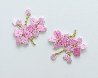 10x Pink Cherry Blossom Iron On Patch Badge for DIY Clothing Jeans Applique Hot