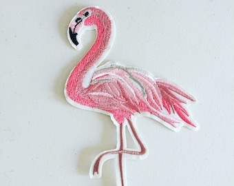 Large Flamingo Iron-On Patch, Tropical Summer Patch, Flamingo Badge, DIY Embroidery, Embroidered Applique, Girly Sew On Patch, Flamingo Gift