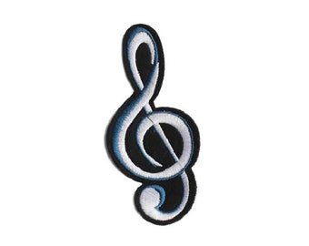 GOLD CLEF MUSIC NOTE Iron On Patch Musical Rock NRoll