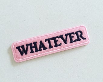Pink Attitude  Whatever Drama DIY Embroidered Iron Sew On Patch Badge Applique Craft Decorative Quote Statement Feminist Motif BFF Cute UK
