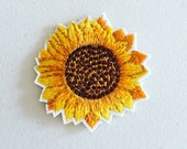 Sunflower Iron-On Patch, Yellow Flower Badge, Flowery Patch, DIY Embroidery, Embroidered Applique, Decorative Patch, Flower Gift