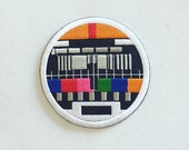 No Signal Television Iron-On Patch, Old TV Vintage Badge, SABC Test Pattern Patch, TV Decorative Patch, Retro Embroidered Applique