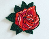 Rose Iron-On Patch, Rockabilly Flower Badge, DIY Embroidery, Embroidered Applique, Decorative Patch, Rose Lover Gift, Rockabilly Gift