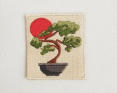 Bonsai Tree Iron-On Patch, Japanese Tree Badge, Japan Patch, DIY Embroidery, Embroidered Applique, Japanese Traditional Decorative Patch