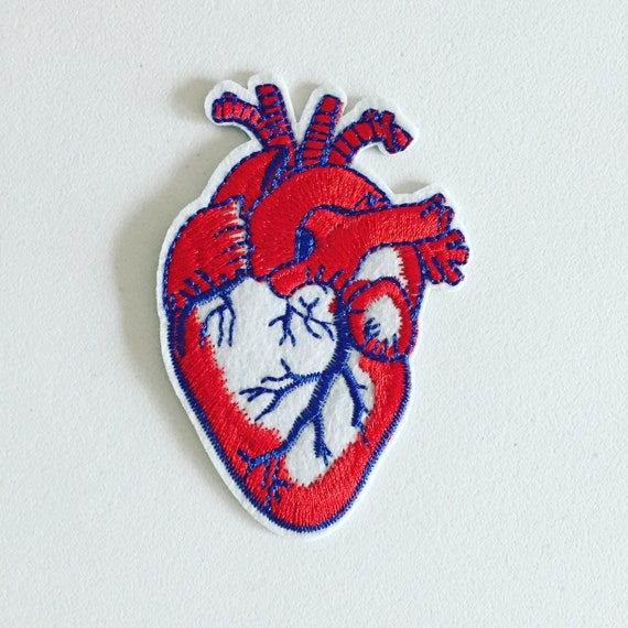 Anatomical Heart Iron-On Patch Heart Badge DIY Embroidery | Etsy