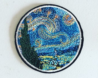 Van Gogh Impressionist Art Patch, Starry Night Iron-on Patch, Van Gogh Art Badge, Art Applique, Embroidered Applique, Art Lover Gift