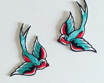 Swallow Iron-On Patch, Rockabilly Bird Patch, DIY Embroidery, Embroidered Applique, Decorative Patch, Bird Lover Gift, Rockabilly Gift