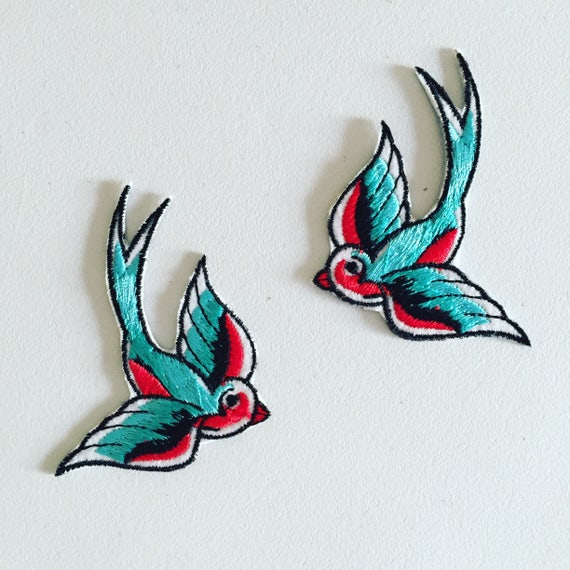 Swallow Iron On Patch Rockabilly Bird Patch Diy Embroidery Embroidered Applique Decorative Patch Bird Lover Gift Rockabilly Gift