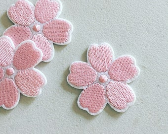 Sakura Cherry Flower Iron-On Patch, Pink Floral Badge, Flowery Patch, DIY Embroidery, Embroidered Applique, Decorative Patch, Cherry Blossom