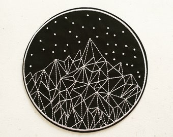 Starry Night Mountain Patch, Geometric Landscape Patch, Mountain Camping Badge, Art Applique, Embroidered Applique, Nature Lover Gift