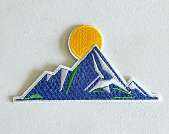 Mountain Patch, Mountain Camping Badge, Mountaineering Landscape Patch, Art Applique, Embroidered Applique, Nature Hiking Lover Gift