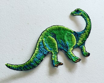 Brontosaurus Iron-On Patch, Dinosaur Iron-On Badge, Dino Animal Patch, DIY Embroidery, Embroidered Applique, Dinosaur Lover Gift