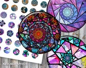 Digital Collage Sheet - Instant Download - Circle Size 30mm 25mm 20mm 18mm Printable Images - Fractal Stained Glass Spirals