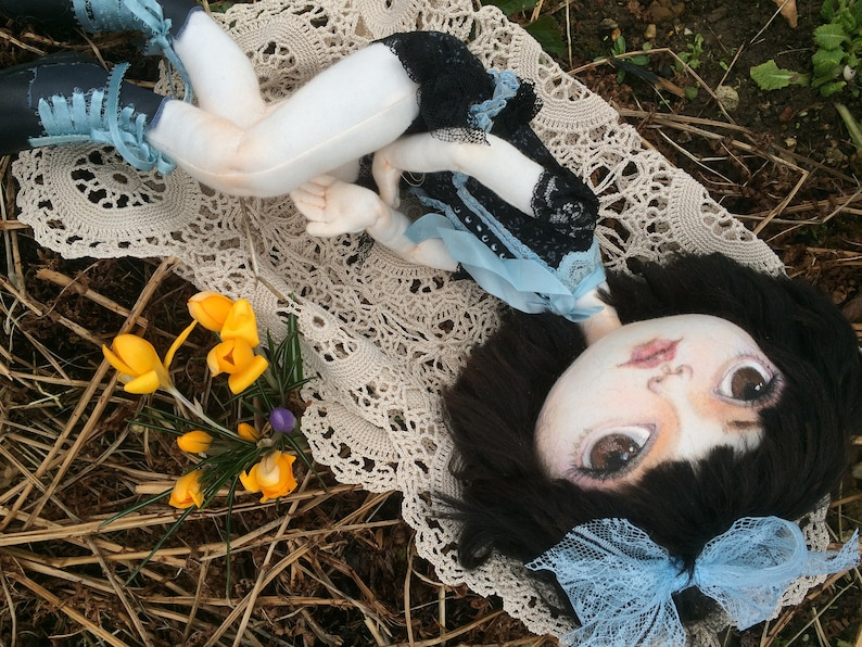 one of a kid fabric art ooak cloth doll Lisa Minelli doll Handmade  goth doll soft sculpture
