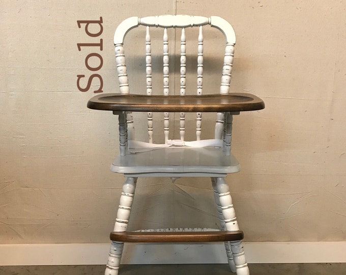 16d0b03b7ff10 SOLD - Vintage Painted and Stained Jenny Lind Style Wooden Highchair