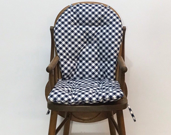 b8511f83ca104 Farmhouse Style Reversible Highchair Cushion Custom Made for Wooden  Highchairs