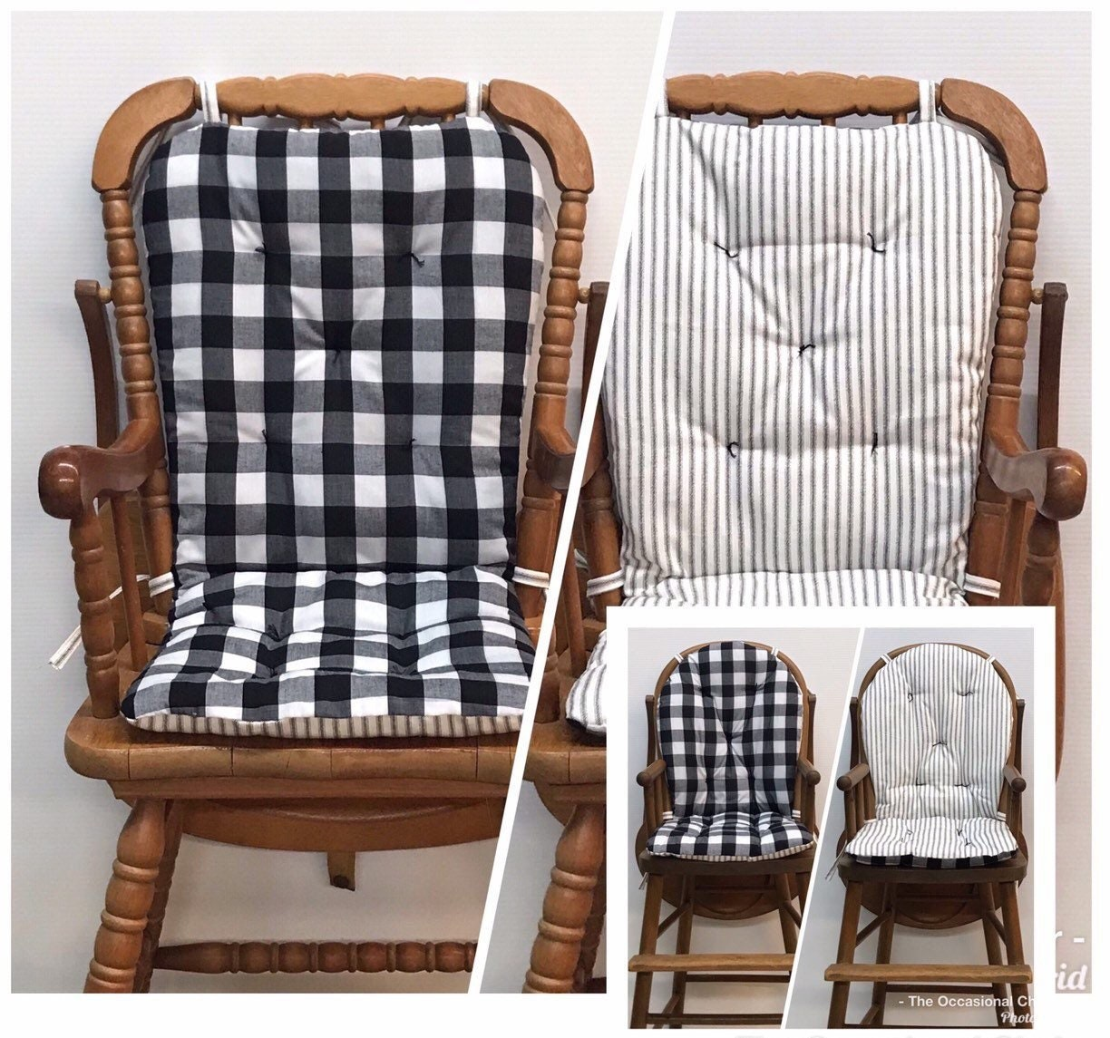 High Chair Cushion For Vintage Wooden High Chairs Buffalo Check