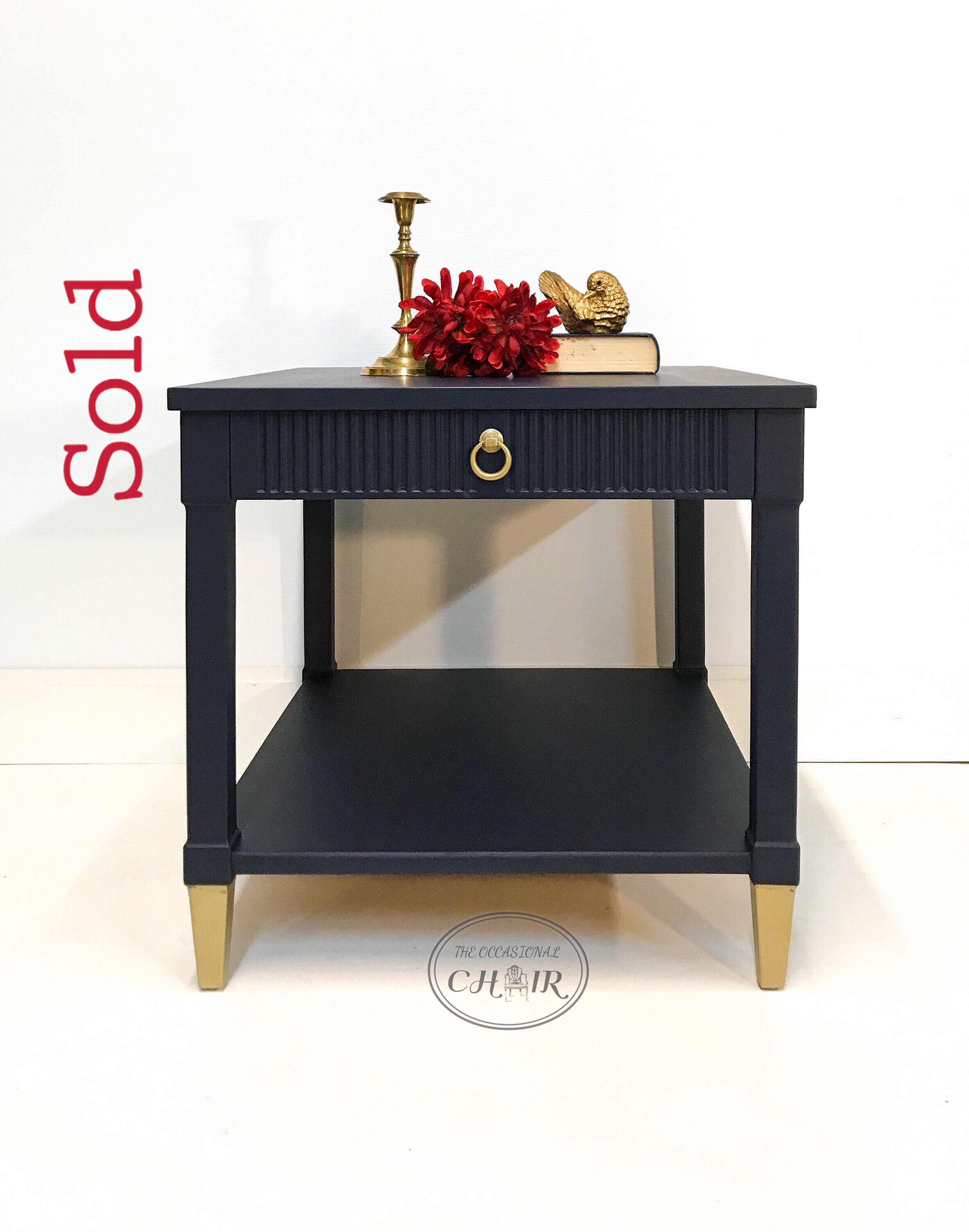 Sold Classic Navy Blue Mid Century Modern End Table