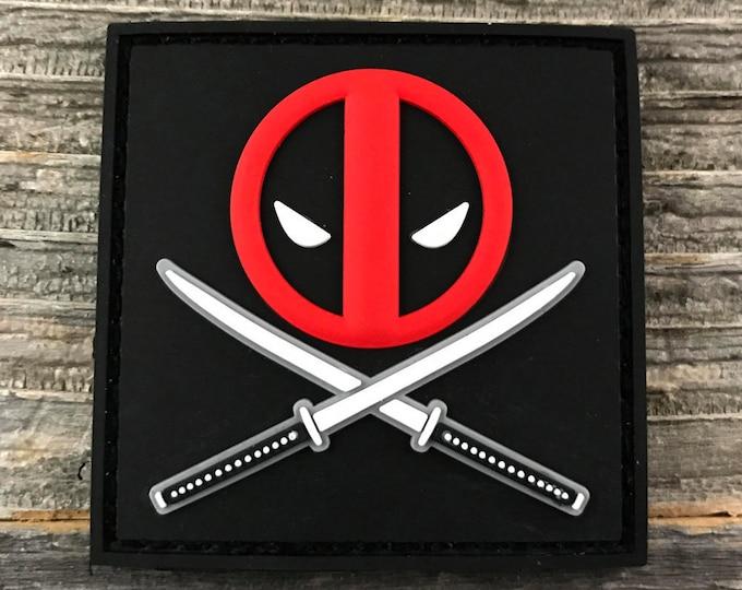 """Deadpool Crossed Blades 3D PVC Morale Patch 2""""x2"""""""