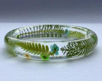 Fern leaf bangle,Green leaf bangle,summer leaf bangle