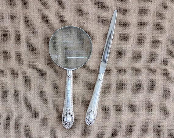 Desk Set - Antique Silver Plated Handled Magnifying Glass & Letter Opener