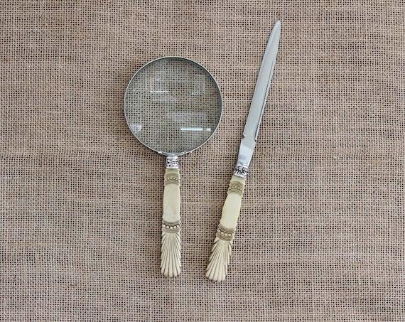 Desk Set Antique Bovine Handled Magnifying Glass & Letter Opener