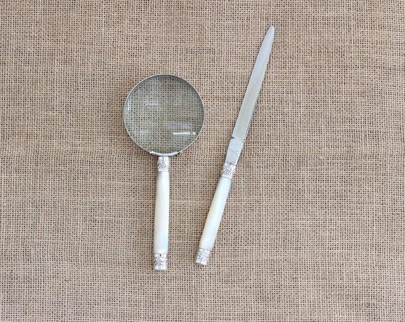 Antique Tubular Mother of Pearl Handled Magnifying Glass & Letter Opener Desk Set