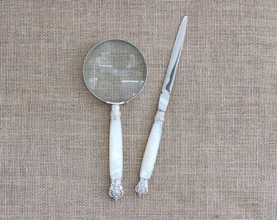 Gift - Antique Mother of Pearl Handled Magnifying Glass & Letter Opener Desk Set