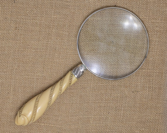Large Magnifying Glass with a Sterling Silver Rim and Spiral Twist & Bead Handle
