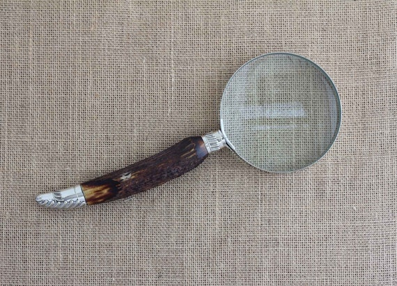 Antique Stag Horn Handle Magnifying Glass with Chrome Rim