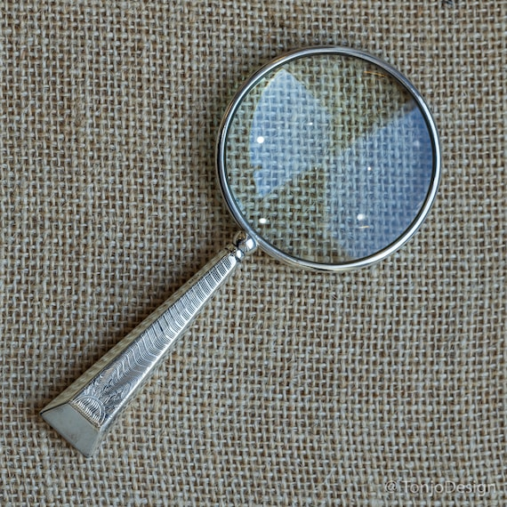 Sterling Silver Rim Magnifying Glass with Art Deco Handle Hallmarked Birmingham 1932