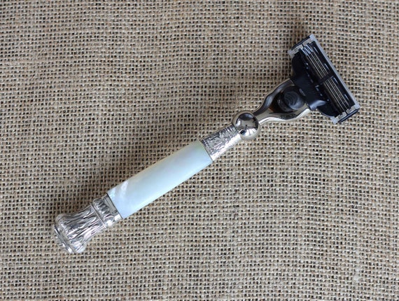Christmas Gift - Caped Mother of Pearl Handled Razor