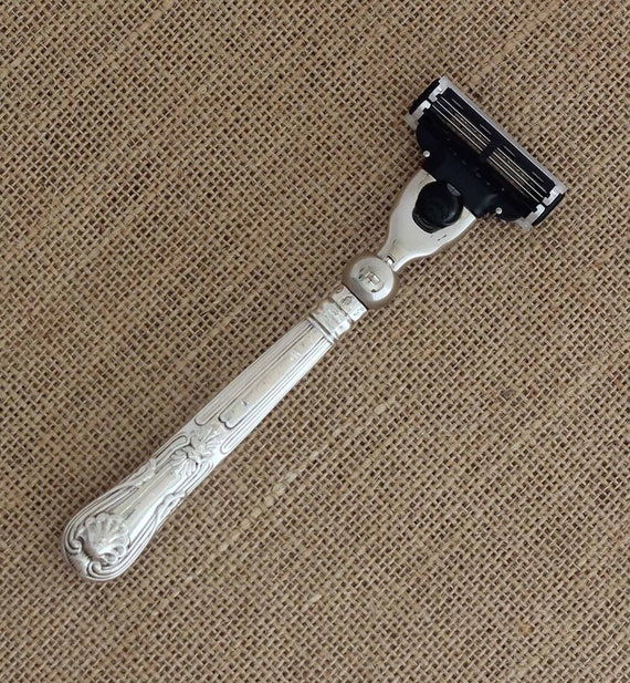 Upcycled Sterling Silver Kings Pattern Handled Gillette Mach 3 Razor with Sheffield Hallmark 1865